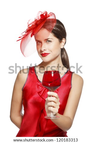 attractive woman in red celebrating new year 2013. on white background