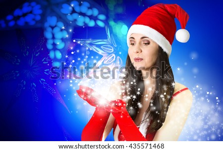 Attractive woman in Santa costume with Christmas gifts. Christmas background - stock photo