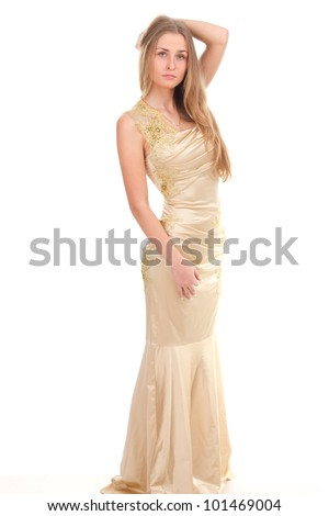attractive woman in yellow dress  on a white background - stock photo