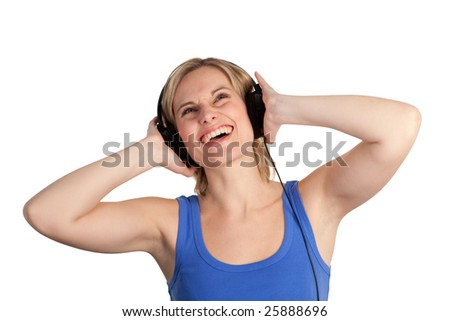 Attractive woman listening to music being happy