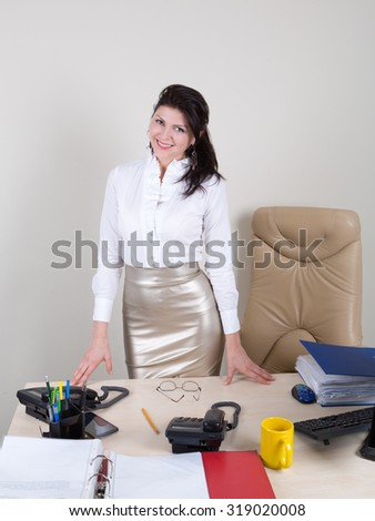 attractive woman meet visitors - stock photo