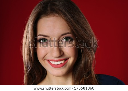 Attractive woman on color background