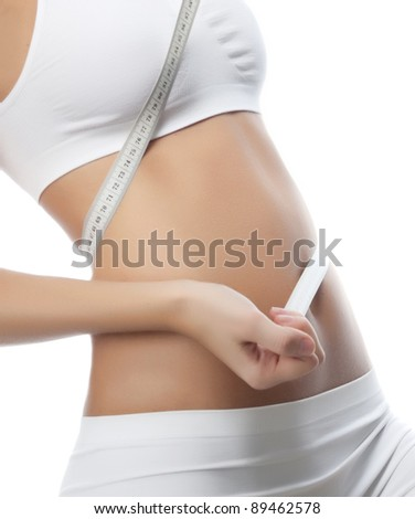 attractive woman on white background