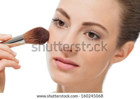 attractive woman powder face make up cosmetic beauty salon
