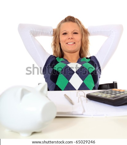 Attractive woman satisfied after finishing her budgeting. All on white background. - stock photo