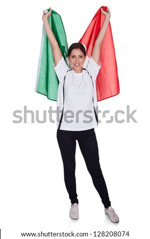 Attractive Woman Shows Flag Of Italy. Isolated On White