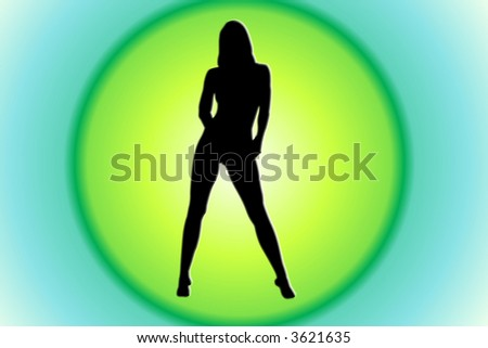 Attractive Woman Silhouette On Green Circle Background