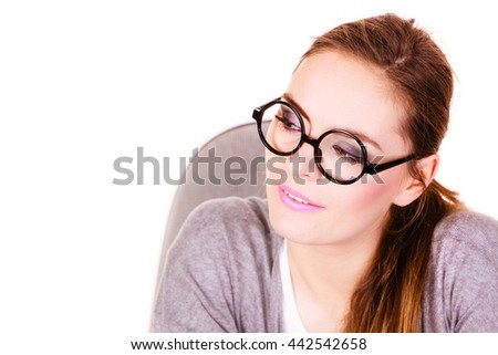 Attractive woman thinking seeks a solution, doubtful young female businesswoman wearing glasses making decision, serious face expression