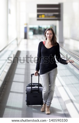 attractive woman travelling - stock photo