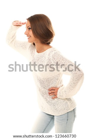 Attractive woman watching gesture over a white background - stock photo