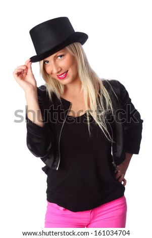 Attractive woman wearing a black jacket and a top hat. White background.