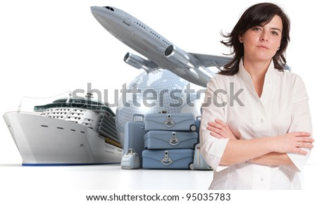 Attractive woman with an international tourism background - stock photo