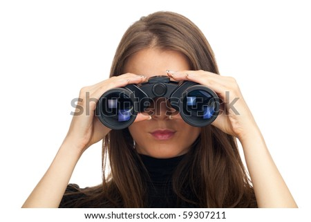 Attractive woman with binoculars - isolated on white - stock photo