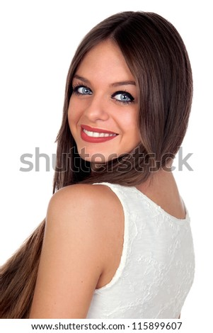 Attractive woman with blue eyes isolated on white background