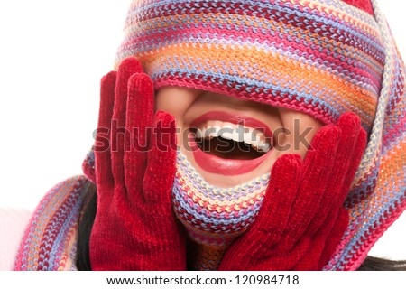 Attractive Woman With Colorful Scarf Over Eyes Isolated on a White Background. - stock photo