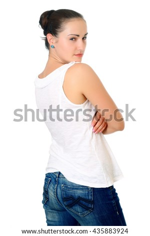 Attractive woman with dark hair standing back and thinking. Half-lenght portrait on white background, isolated - stock photo
