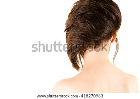 attractive woman with fashionable hairstyle
