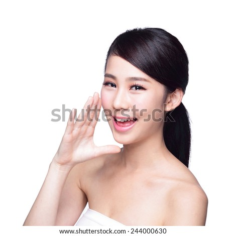 attractive woman with health skin, she is happy talk to you isolated on white background, asian beauty - stock photo
