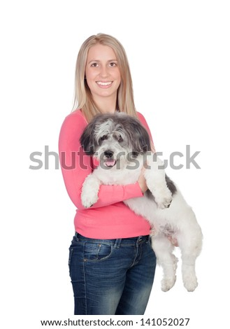 Attractive woman with her dog isolated on white background