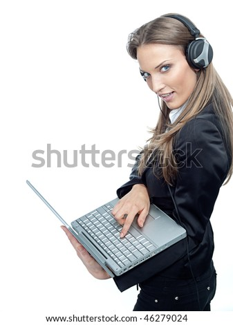 attractive woman with laptop smiling - stock photo