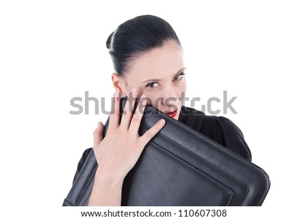 Attractive woman with leather briefcase - stock photo