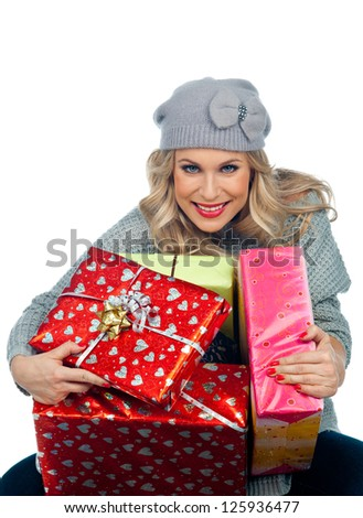 attractive woman with lot gifts and presents