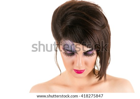 attractive woman with make-up and hairstyle