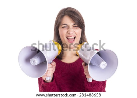 Attractive woman with megaphone