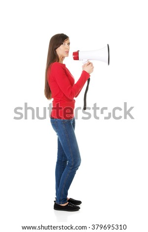 Attractive woman with megaphone. - stock photo