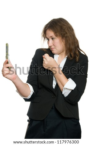 attractive woman with phone over white - stock photo