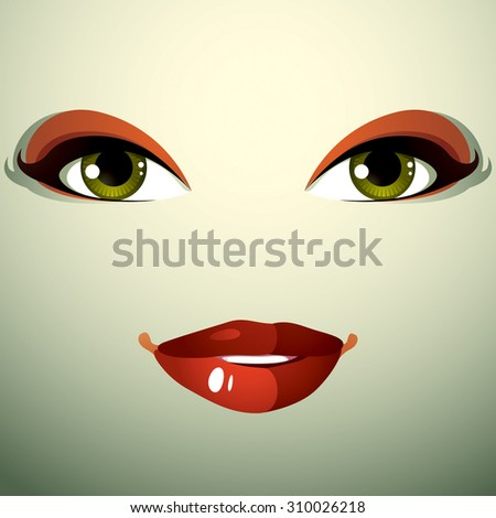 Attractive woman with stylish bright make-up. Sexy Caucasian distrustful lady. Human eyes and lips, face emotions, doubt. - stock photo
