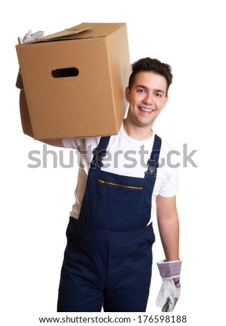 Attractive worker with a box on his shoulder - stock photo