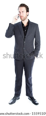 Attractive 30 years old caucasion man shot in studio isolated on a white background - stock photo