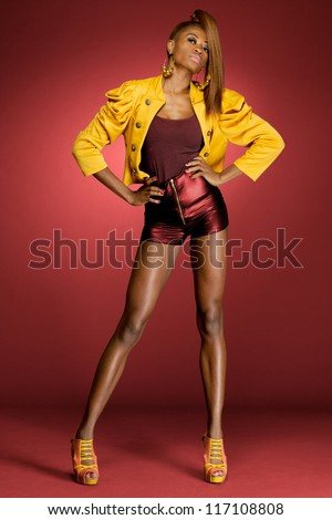 Attractive young African-american fashion model. - stock photo