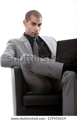 Attractive young african hispanic american businessman - stock photo