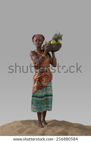 Attractive young african woman carrying fruits on sand on gray studio background - stock photo