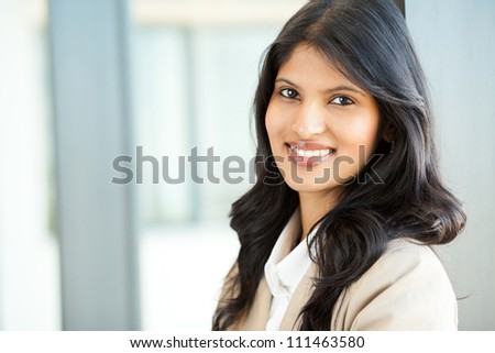 attractive young asian businesswoman closeup portrait - stock photo