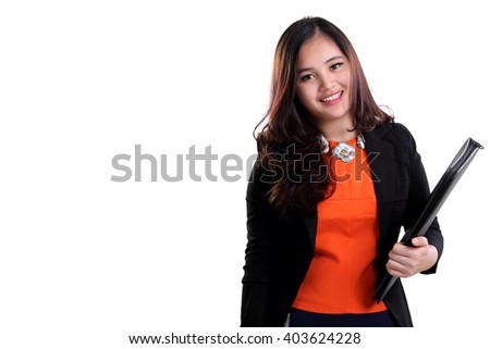 Attractive young Asian corporate woman carrying a folder, isolated on white background for copy space - stock photo