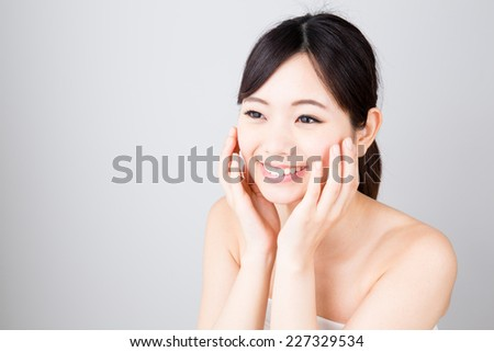 attractive young asian woman beauty image on white background