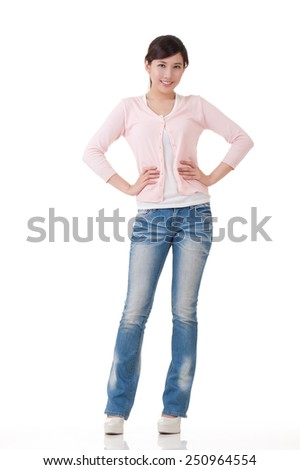 Attractive young Asian woman, full length portrait with reflection in studio white background. - stock photo