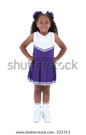 Attractive young black girl in cheer leader uniform over white background.