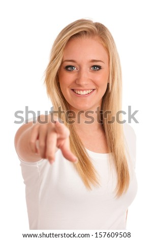 Attractive young blonde girl pointing index finger isolated over white - stock photo