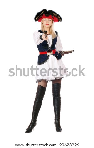 Attractive young blonde with guns dressed as pirates - stock photo