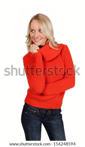 Attractive young blonde woman isolated on white - stock photo