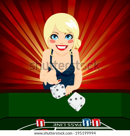 Attractive young blonde woman on casino playing craps throwing dice - stock photo