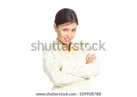 Attractive young brunette businesswoman flirting. Isolated against white background.