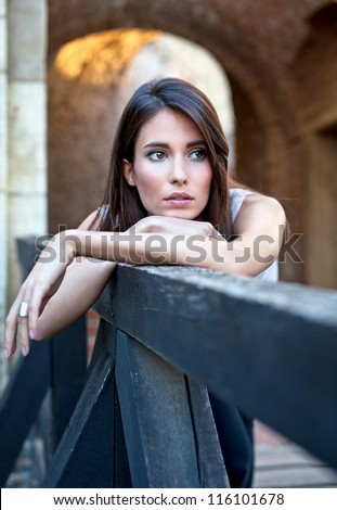 Attractive young brunette . Fashion concept. - stock photo