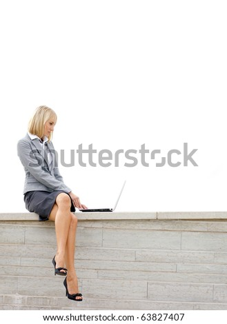 Attractive young business woman isolated on white - stock photo