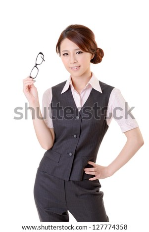 Attractive young business woman of Asian, closeup portrait on white background. - stock photo