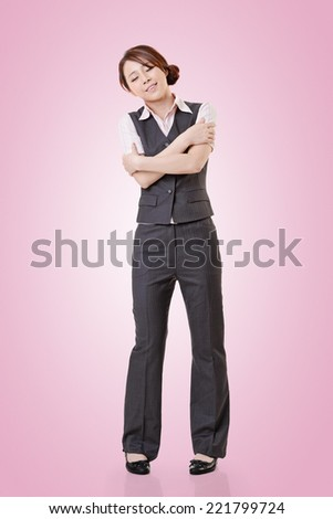 Attractive young business woman of Asian, full length portrait with clipping path. - stock photo